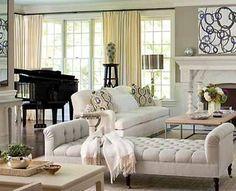 black piano in living room   Living Room Design Ideas, Spacious Room Decorating around Grand Piano