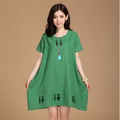 2014 Summer Loose Large Size Women Dress Plus Fat Plus Big Yards Plaid Cotton Dress Linen Dress Free Shipping A190-119