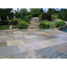 MS International golden white natural quartzite paver adds an elegant beauty on your patio or walkway. Ideal for indoor or outdoor applications, these natural stone pavers are durable and have various shade Outdoor Walkway, Paver Walkway, Outdoor Tiles, Cobblestone Walkway, Front Walkway, Front Porch, Patio Tiles, Patio Flooring, Stone Flooring