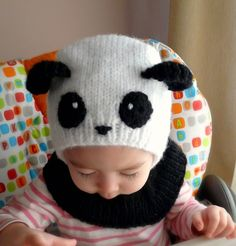 baby knit panda hat, too cute!