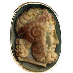Ring Featuring a Roman Cameo Depicting the Head of Zeus Ammon  Origin: Eastern Mediterranean Circa: 100 AD to 300 AD