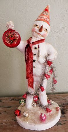 Nostalgic Folk Art,Carol Roll,paper mache vintage style mixed media Christmas Snowman by NostalgicFolkArt on Etsy