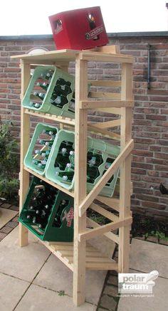 Getränkekisten-Regal aus Fichtenholz für 6 Kisten   Polartraum • natürlich • handgemacht