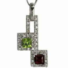 Platinum Peridot and Garnet Square Pendant Da'Carli. $1900.00. Free Pendant Box included with this item!; Free Standard Shipping with this item!; Call 1(888) 527-9422 for a different combination of gemstones, 18k, Yellow Gold, or Platinum. When calling, please, provide the model number: 11623ALT03; This Pendant is set with 1 green VS peridot weighing 0.50 ct. The Pendant is accented with 1 red VS garnet with a total weight of 0.50 ct. In addition, it features 38 GH-S...