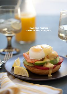 Salmon and Bagel Egg Benedict with avocado