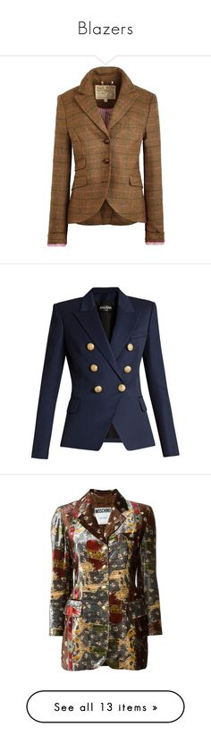 """""""Blazers"""" by fashionforwarded ❤ liked on Polyvore featuring outerwear, jackets, blazers, brown check, jack wills, tweed jackets, checkered jacket, wool tweed blazer, woven jacket and blue"""