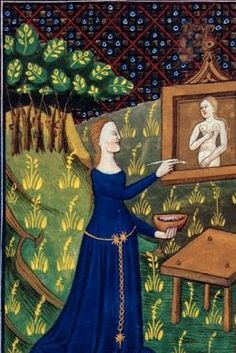 Unknown Artist from Detail of a miniature of Ancient Greek artist Thamyris (Timarete) painting her picture of the goddess Diana, N. France,(...