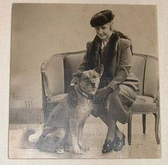 Original photo for sale, Helen Keller with her akita, Go-Go, Inscribed
