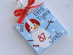 Personalized Snowman football ornament by threedoodlebugs on Etsy, $7.25