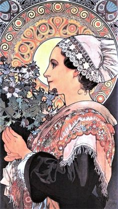 """""""Thistle From The Sands"""" 1902 ~ Alphonse Mucha ~ Click through the large version for a full-screen view (on a black background in Firefox), set your computer for full-screen. ~ Miks' Pics """"Alphonse Mucha"""" board @ http://www.pinterest.com/msmgish/alphonse-mucha/"""