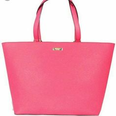 """NWT Kate Spade Newbury Lane Jules Tote in Geranium Beautiful color just too big for my every day. Color is geranium - a beautiful pink/coral, perfect for summer!  Style#WKRU2931  Size: 11.4""""h x 13""""w x 15.7""""d Drop length 9"""" 14karat gold plated hardware Zipper closure kate spade Bags Totes"""