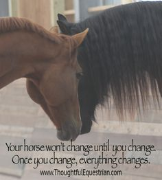 Once you change - everything changes.  Join us at: www.ThoughtfulEquestrian.com