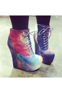 I found 'Damsel - Rainbow GalaxyJeffrey Campbell + Black Milk Heels Shoes Boots Platform Kawaii Cute Fashion Girl Lace Up Gothic Lolita Women Space Heel Galaxy' on Wish, check it out!
