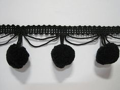 5 Yards Black Extra Large Pom Pom Trim pom size 2.5 by ichimylove
