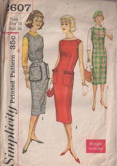 MOMSPatterns Vintage Sewing Patterns - Simplicity 2607 Vintage 50's Sewing Pattern SLIMMING Dart Fitted Easy to Sew Sheath Jumper, Cocktail Party Dress, HUGE Fringe Trim Pockets