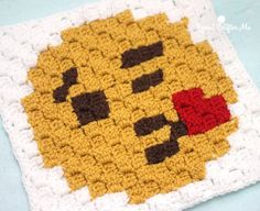 Make a cute emoji square with this c2c crochet pattern by Repeat Crafter Me! Made with Vanna's Choice! :D