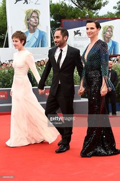Lou de Laage, Piero Messina and Juliette Binoche attend a premiere for 'The Wait' during the 72nd Venice Film Festival on September 5, 2015 in Venice, Italy.