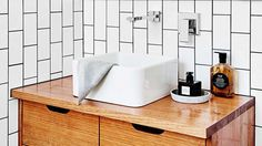 white subway tiles in the bathroom: yay or nay? Bathroom Basin, Laundry In Bathroom, Timber Vanity, White Subway Tiles, Australian Homes, Interior Stylist, Clever Design, Bathroom Inspiration, Bathroom Ideas