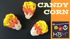 Rainbow Loom Band Candy Corn Charm Perfect for Halloween tutorial by Made By Mommy.
