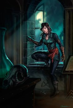 Kateti by dleoblack female elf rogue thief assassin black leather armor clothes clothing fashion player character npc | Create your own roleplaying game material w/ RPG Bard: www.rpgbard.com | Writing inspiration for Dungeons and Dragons DND D&D Pathfinder PFRPG Warhammer 40k Star Wars Shadowrun Call of Cthulhu Lord of the Rings LoTR + d20 fantasy science fiction scifi horror design | Not Trusty Sword art: click artwork for source