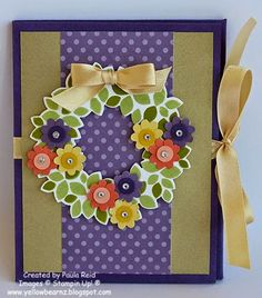 Stampin' Up! ... handmade card from Yellowbear Stampin: Wondrous Wreath ... bright and pretty interpreationf with layered punched flowers ... kraft panel on purple card witha band of purple polka dot paper ...