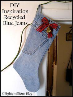 Eightymillion: DIY Inspiration: Recycled Jeans Into Christmas Stockings  #DIY #ChristmasStocking #RecycledBlueJeans #HandmadeHoliday