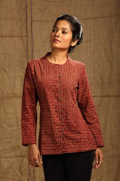 A classic jacket with a twist. Bold & tiny floral motifs in earthy Madder patched cleverly come together in this jacket. Short Kurti Designs, Salwar Designs, Kurti Neck Designs, Kurta Designs Women, Dress Neck Designs, Kurtha Designs, Crop Top Designs, Jeans Top Design, Denim Kurti