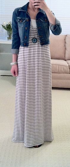 maxi dresses and jackets, modest jeans outfit, jean jackets, jean jacket outfits modest, long necklaces, denim jacket, jean jacket maxi, cute short jean jacket
