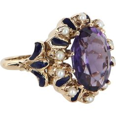 Amethyst Blue Enamel Pearl Cocktail Ring Vintage 14k Yellow Gold Estate Jewelry