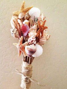 Seashell Bouquet, Cool Seashell Project Ideas, http://hative.com/cool-seashell-project-ideas/,