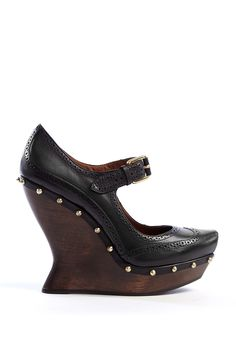 Brogued Mary Janes with Gold Studs by McQ Alexander McQueen