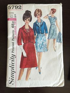 Simplicity 5792; Year ©1964  Size 18 (Bust 38 Waist 30 Hip 40)  Pattern Description: Misses and Womens One-Piece Dress and Jacket: Collarless