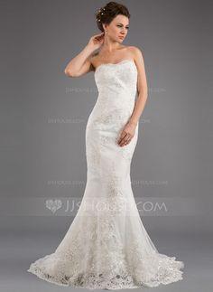 $197 Mermaid Strapless Sweep Train Satin Tulle Wedding Dress With Lace Beadwork (002035873) - JJsHouse