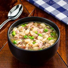 White Bean and Quinoa Soup with Ham in bowl