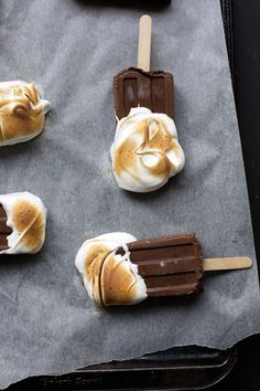 wintermint chocolate torched meringue popsicles