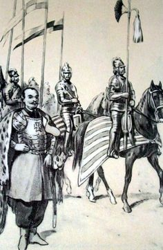 Od lewej: towarzysz husarski, rotmistrz, buńczuczny i husarze Wielkiego Księstwa Litewskiego z 1744 r. Rys. B. Gembarzewski.