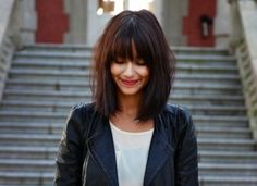 Mid-length hair cut - I love the chocolate colour of her hair, her fringe and the messy look