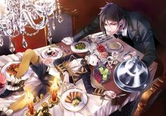 Black Butler / kuroshitsuji A feast fit for a demon butler Black Butler Sebastian, Black Butler Anime, Black Butler 3, Ciel Phantomhive, Book Of Circus, Sebaciel, The Gazette, Black Butler Kuroshitsuji, Anime Kawaii