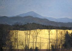 Private collection paintings, and original paintings and by Vermont artist Gary Milek in egg tempera, gold leaf, and watercolor offered for sale. Watercolor Landscape, Abstract Landscape, Landscape Paintings, Gold Leaf Art, Gold Art, Yellow Art, Encaustic Art, Modern Artwork, Art Abstrait