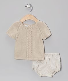 Beige Polka Dot & Cable-Knit Sweater & Diaper Cover - Infant   Daily deals for moms, babies and kids