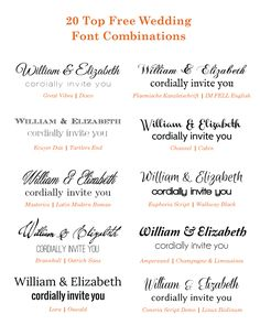 Free Google Wedding Font Combinations -repinned from Southern California wedding minister https://OfficiantGuy.com
