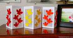 DIY Fall Leaf Paper Lanterns made with a Cricut - Syksyn käsityöt - Paper Paper Lantern Making, Paper Lanterns, Diy Paper, Paper Crafts, October Crafts, Tea Candles, Fall Diy, Autumn Leaves, Something To Do