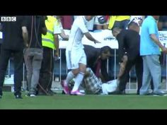 James Rodriguez Hugs Fan Who Invades Pitch In Madrid  [23.07.2014]. . http://www.champions-league.today/james-rodriguez-hugs-fan-who-invades-pitch-in-madrid-23-07-2014/.  #James Rodríguez #Madrid