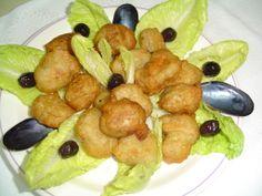 Μύδια κροκέτες, Αλεξανδρούπολης Fruit Salad, Sausage, Chicken, Meat, Food, Meal, Eten, Sausages, Hoods