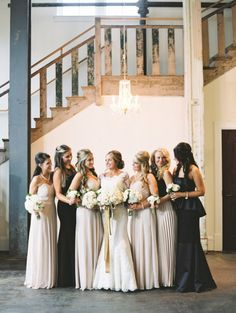 Neutral bridesmaid look: http://www.stylemepretty.com/2014/10/16/sparkling-sequin-winter-wedding-in-columbia-sc/ | Photography: Landon Jacob - http://landonjacob.com/
