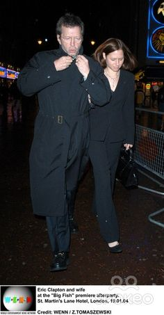 """Eric Clapton and wife at the """"Big Fish"""" premiere afterparty. St. Martin's Lane…"""