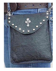 Thats-A-Wrap-Womens-Embellished-Cross-Side-Pouch-Belt-Bag-Black-Leather-98161-0
