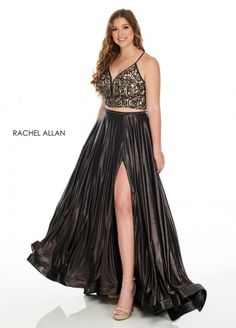 Style 7235 from Rachel Allan Curves is a metallic shimmer jersey two piece plus size gown that has a skirt slit and a beaded top.