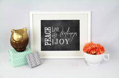 Printable Tidings of Comfort & Joy Chalkboard by IselleWeddings