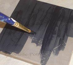 Scraffito-apply underglaze to leather hard clay